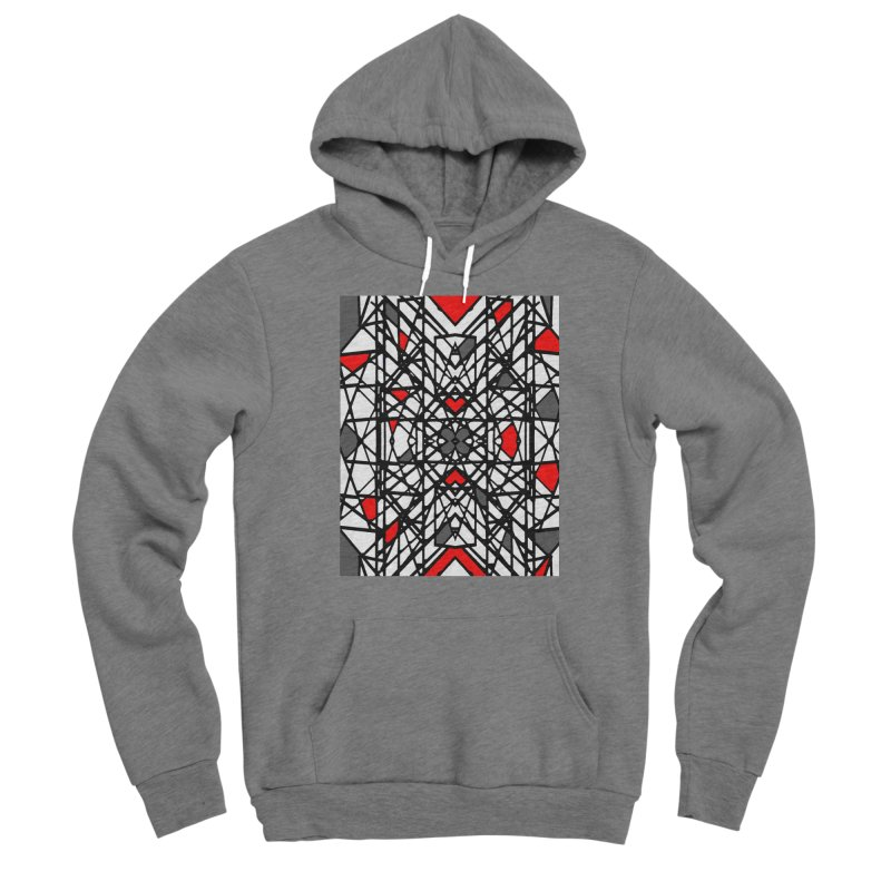 BLACK/RED GEO Women's Sponge Fleece Pullover Hoody by designsbydana's Artist Shop