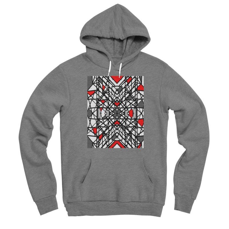 BLACK/RED GEO Men's Sponge Fleece Pullover Hoody by designsbydana's Artist Shop