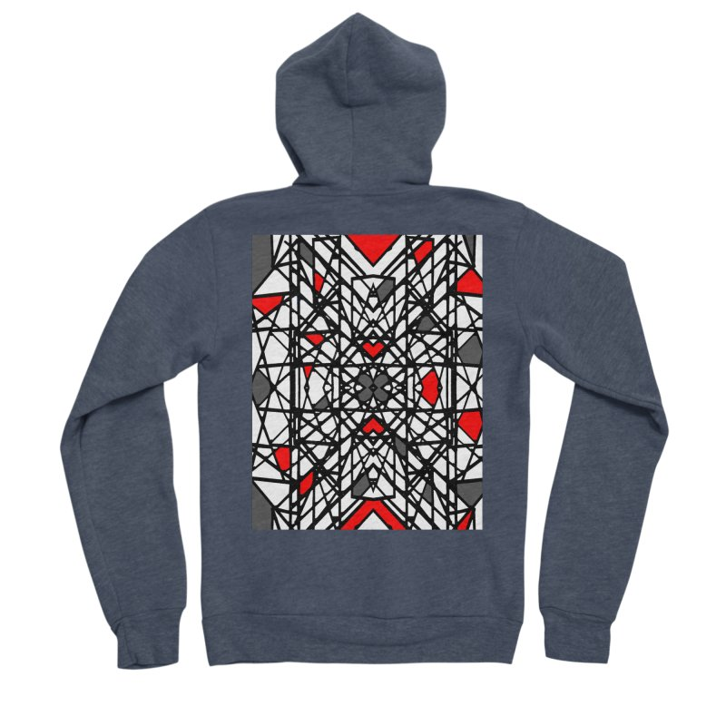 BLACK/RED GEO Men's Sponge Fleece Zip-Up Hoody by designsbydana's Artist Shop