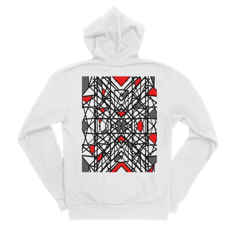 BLACK/RED GEO Women's Sponge Fleece Zip-Up Hoody by designsbydana's Artist Shop