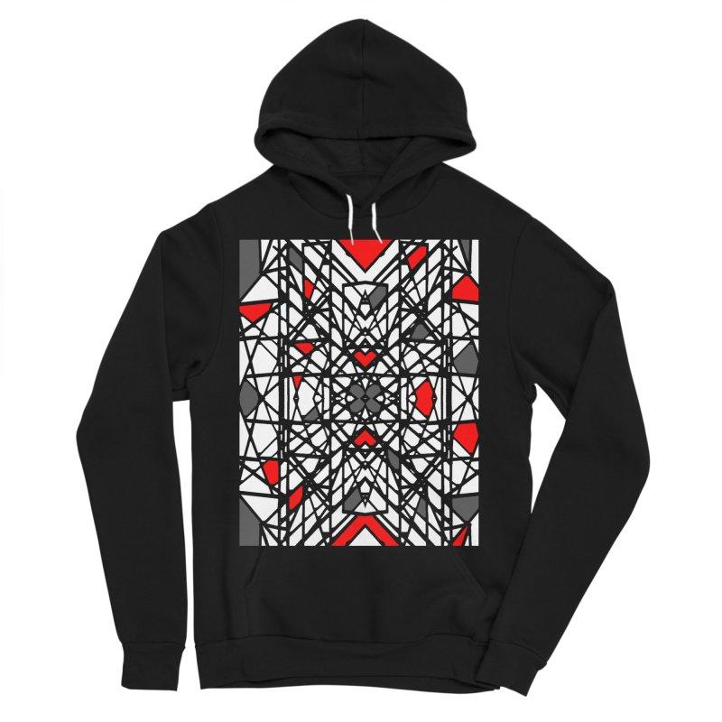 BLACK/RED GEO Women's Sponge Fleece Pullover Hoody by designsbydana's Artist Shop