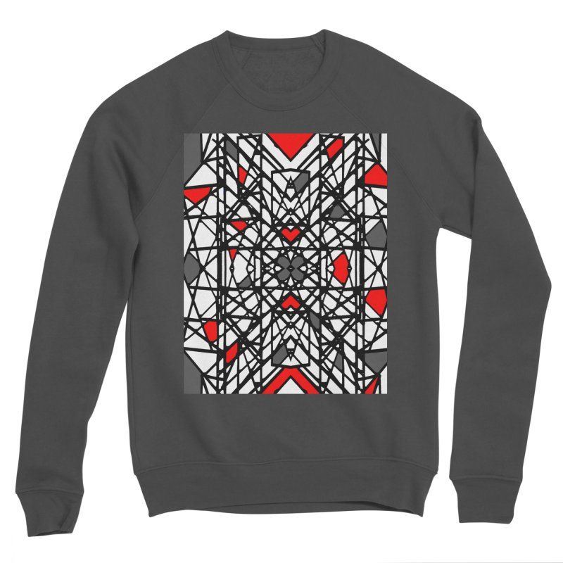 BLACK/RED GEO Women's Sponge Fleece Sweatshirt by designsbydana's Artist Shop