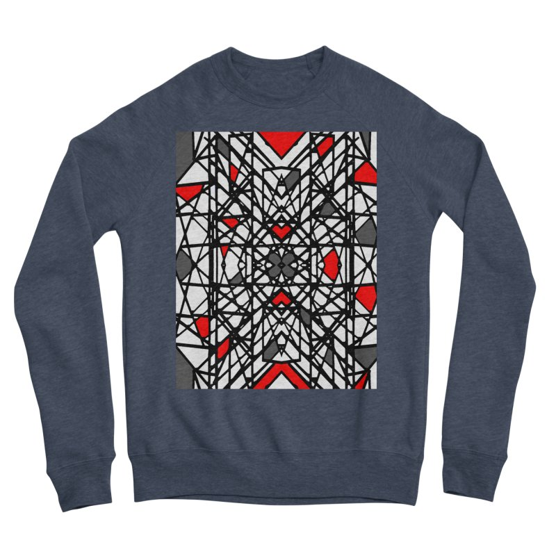 BLACK/RED GEO Women's Sponge Fleece Sweatshirt by designsbydana's Artist Shop