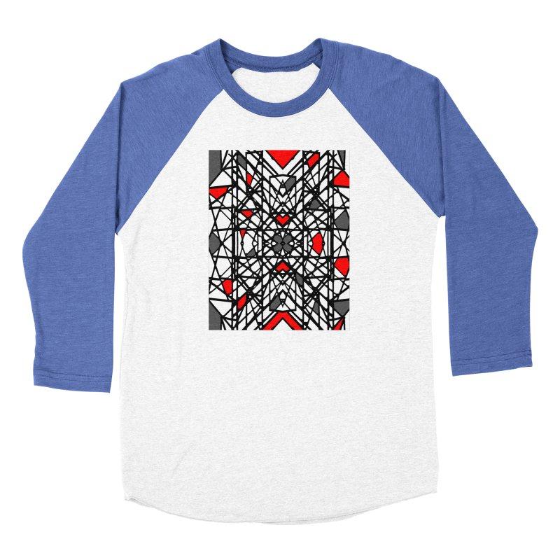 BLACK/RED GEO Women's Baseball Triblend Longsleeve T-Shirt by designsbydana's Artist Shop
