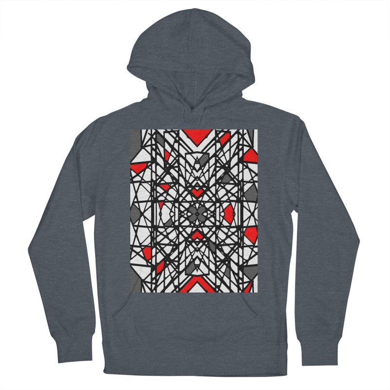 BLACK/RED GEO Women's French Terry Pullover Hoody by designsbydana's Artist Shop