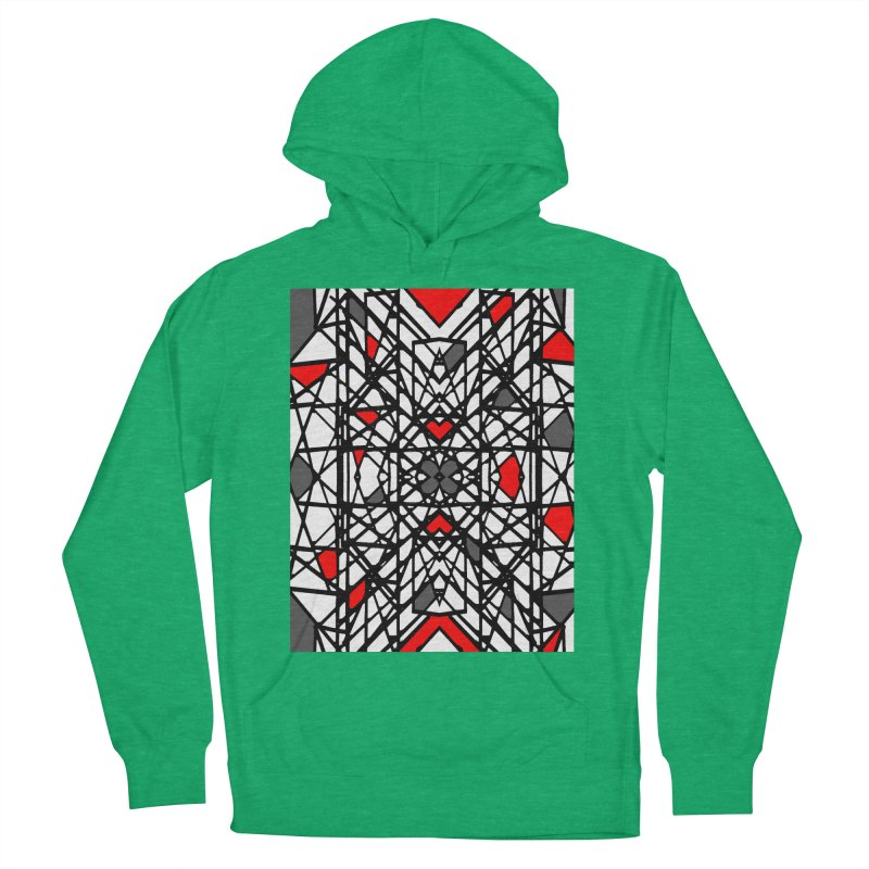 BLACK/RED GEO Men's French Terry Pullover Hoody by designsbydana's Artist Shop