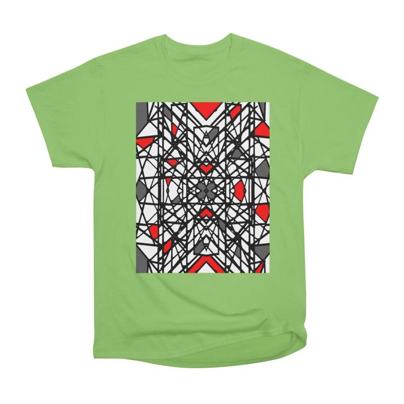 BLACK/RED GEO Men's Heavyweight T-Shirt by designsbydana's Artist Shop