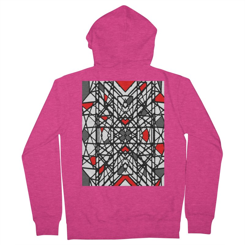 BLACK/RED GEO Women's French Terry Zip-Up Hoody by designsbydana's Artist Shop