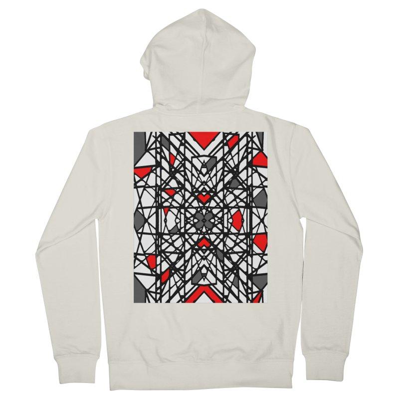 BLACK/RED GEO Women's French Terry Zip-Up Hoody by designsbydana's Artist Shop