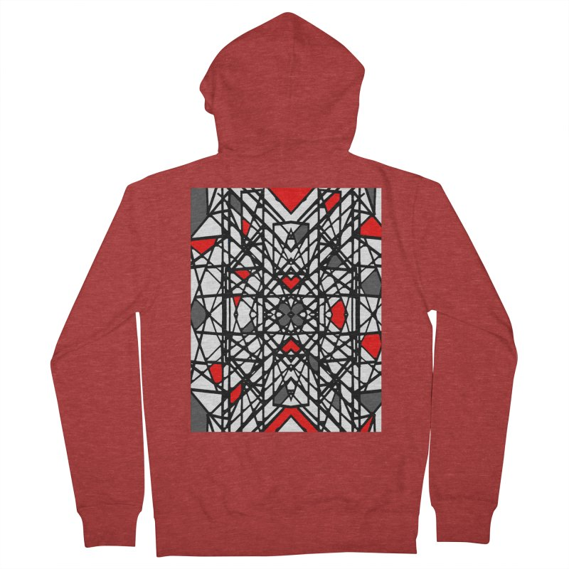 BLACK/RED GEO Men's French Terry Zip-Up Hoody by designsbydana's Artist Shop