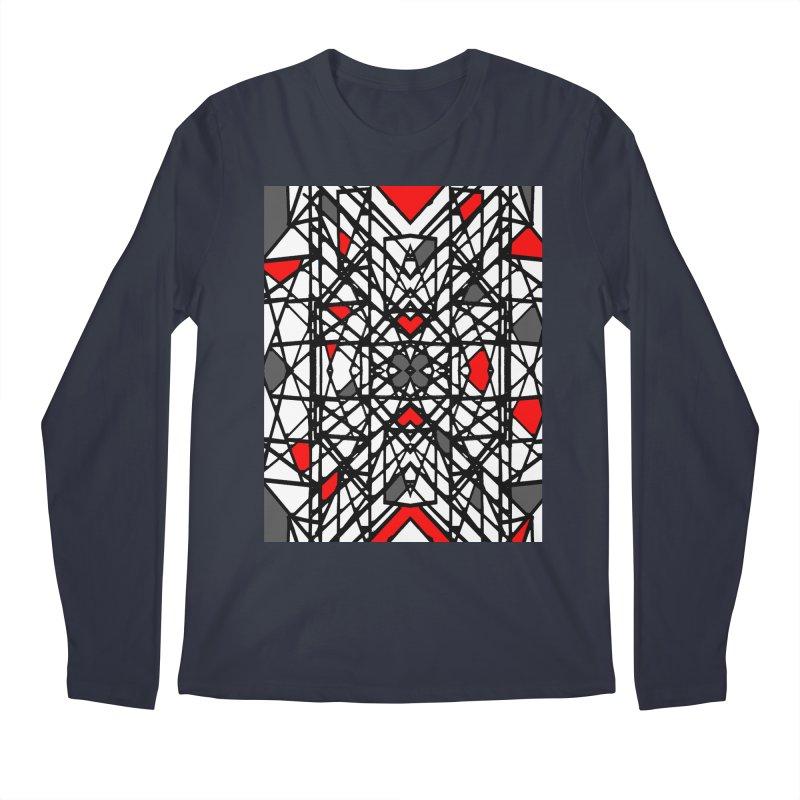 BLACK/RED GEO Men's Regular Longsleeve T-Shirt by designsbydana's Artist Shop