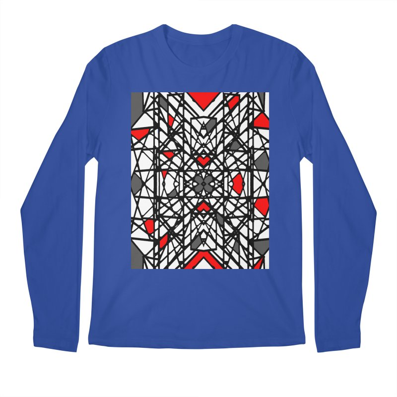 BLACK/RED GEO Men's Regular Longsleeve T-Shirt by designsbydana's Artist Shop