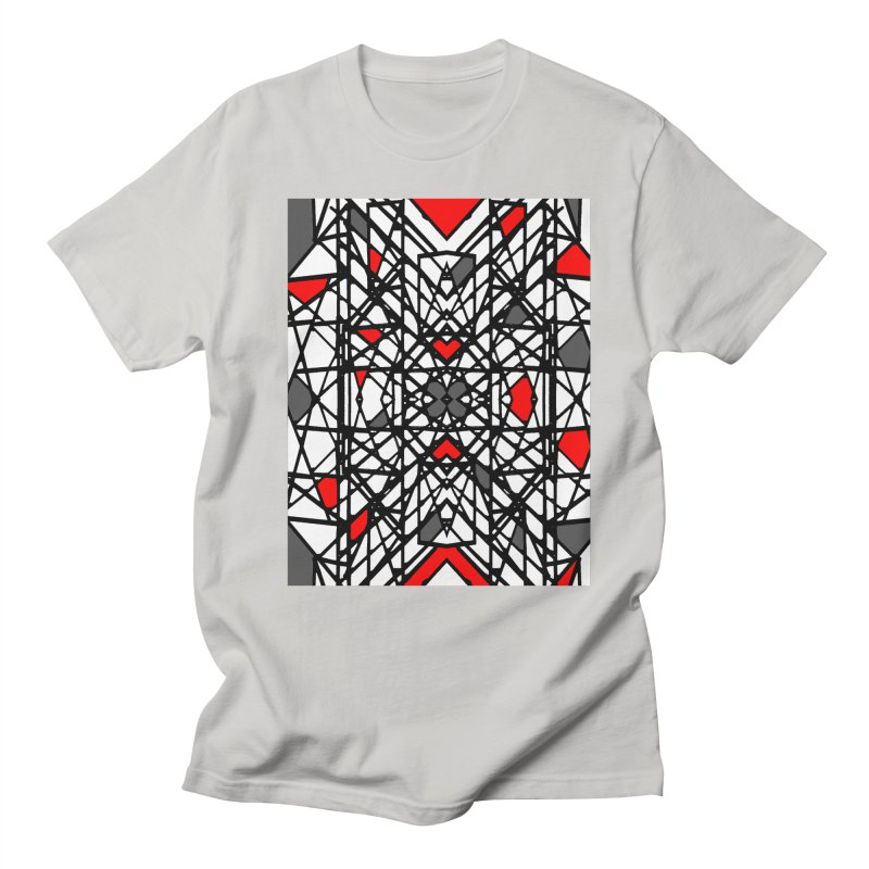 BLACK/RED GEO Men's Regular T-Shirt by designsbydana's Artist Shop