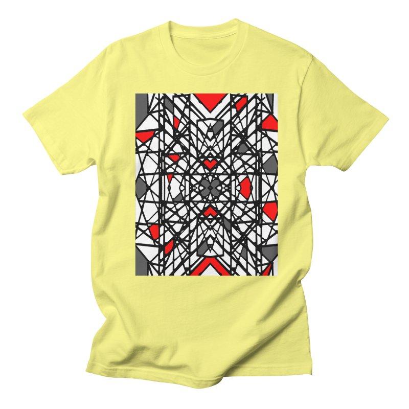 BLACK/RED GEO Men's Regular T-Shirt by designsbydana's Artist Shop