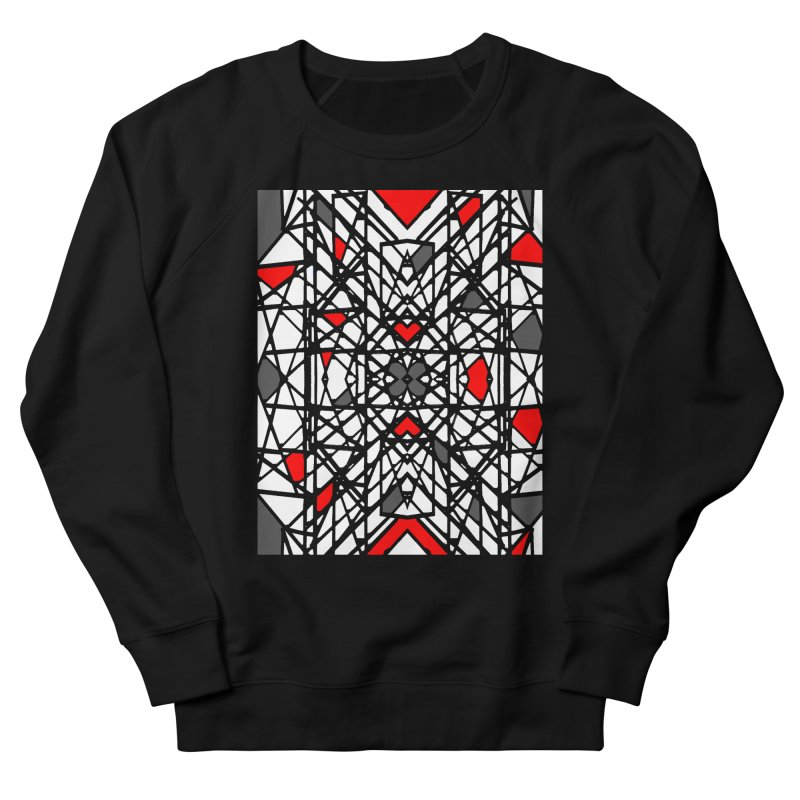 BLACK/RED GEO Women's French Terry Sweatshirt by designsbydana's Artist Shop