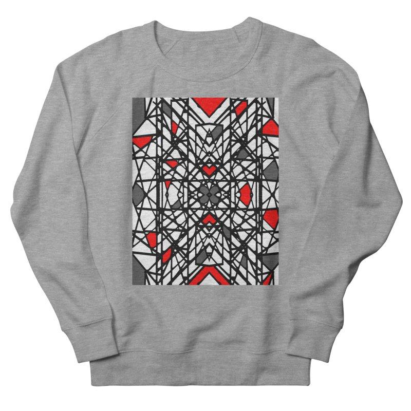 BLACK/RED GEO Men's French Terry Sweatshirt by designsbydana's Artist Shop
