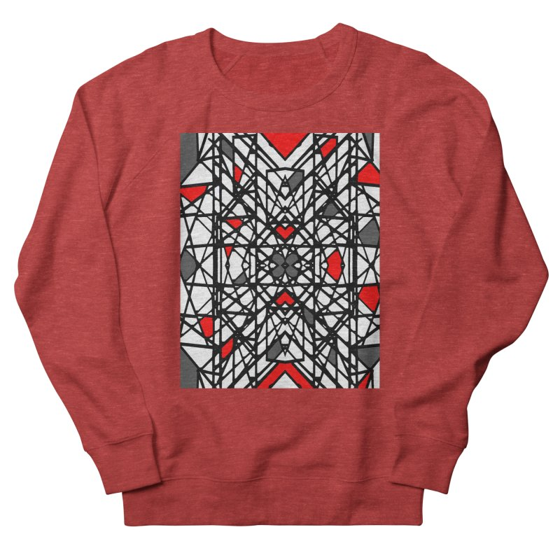 BLACK/RED GEO Men's French Terry Sweatshirt by designsbydana's Artist Shop