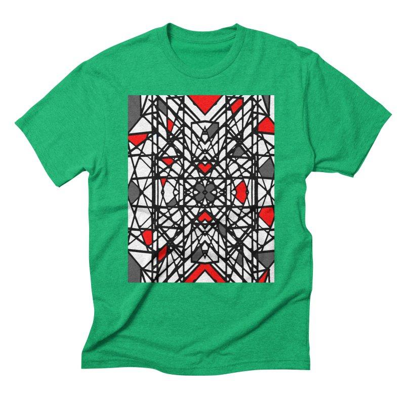 BLACK/RED GEO Men's Triblend T-Shirt by designsbydana's Artist Shop