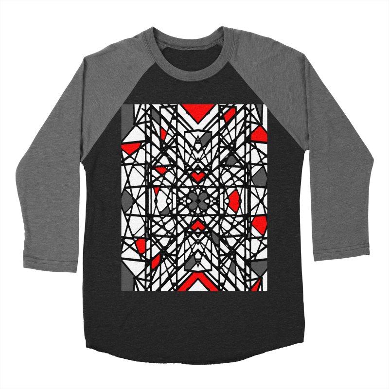 BLACK/RED GEO Men's Baseball Triblend Longsleeve T-Shirt by designsbydana's Artist Shop