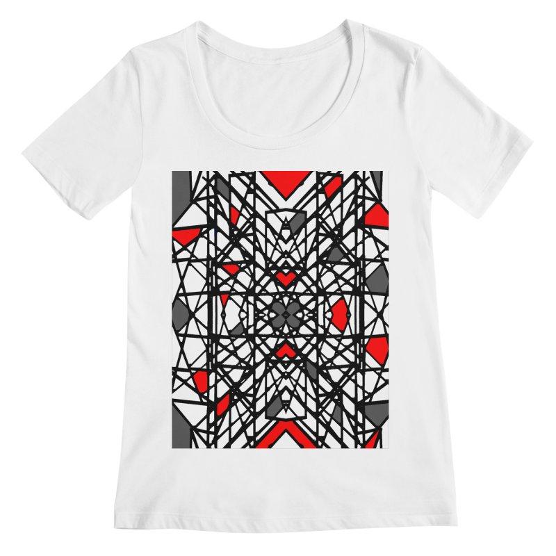 BLACK/RED GEO Women's Regular Scoop Neck by designsbydana's Artist Shop