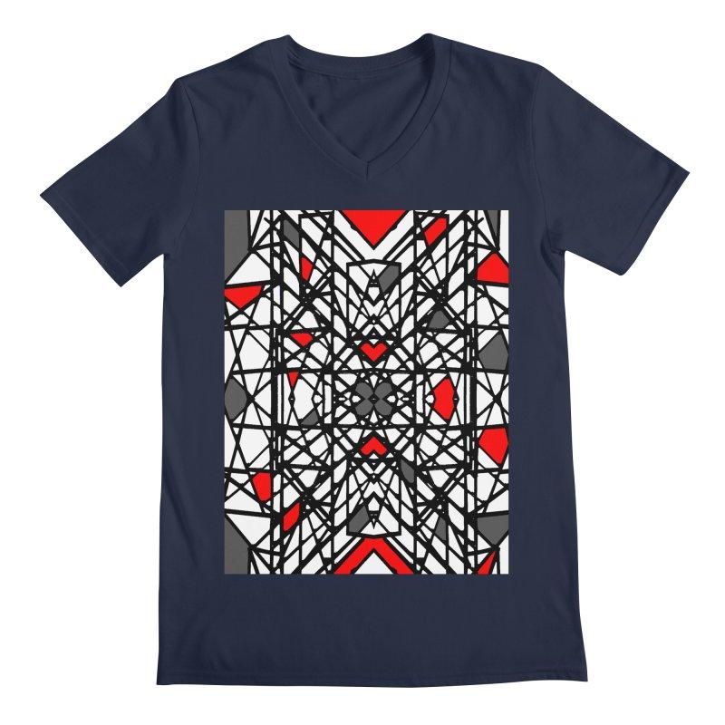 BLACK/RED GEO Men's Regular V-Neck by designsbydana's Artist Shop