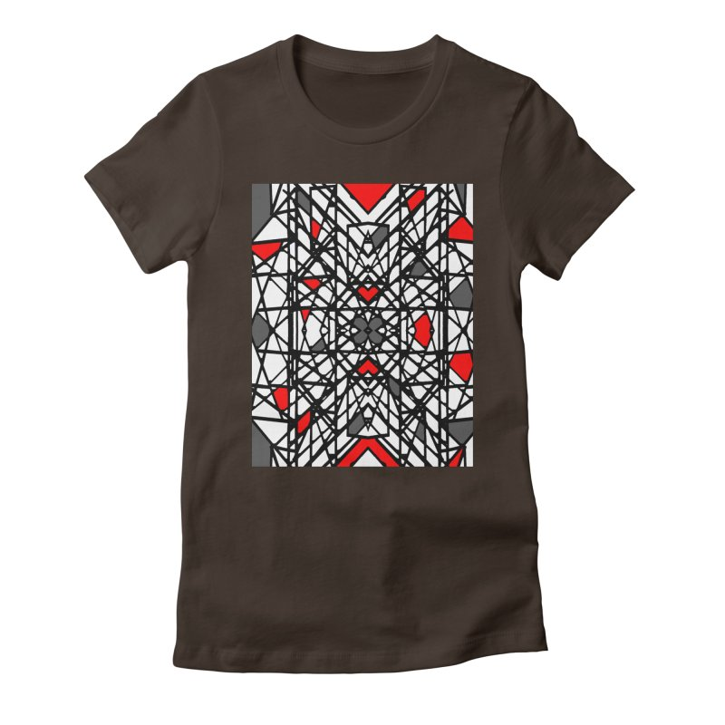 BLACK/RED GEO Women's Fitted T-Shirt by designsbydana's Artist Shop
