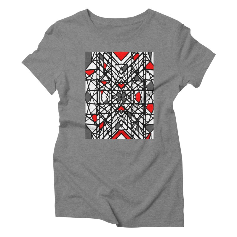 BLACK/RED GEO Women's Triblend T-Shirt by designsbydana's Artist Shop