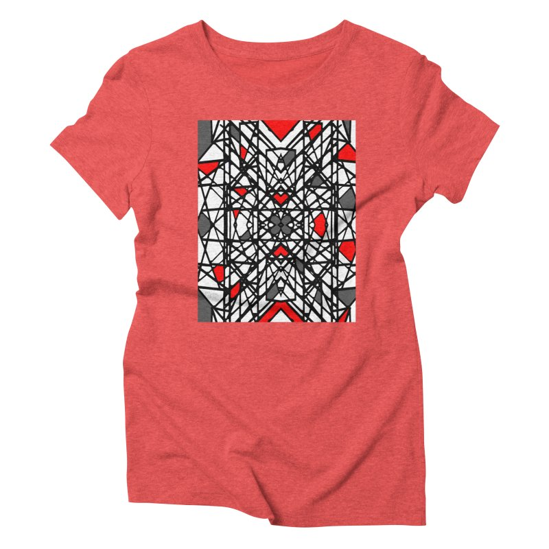 BLACK/RED GEO Women's Triblend T-Shirt by designsbydana's Artist Shop
