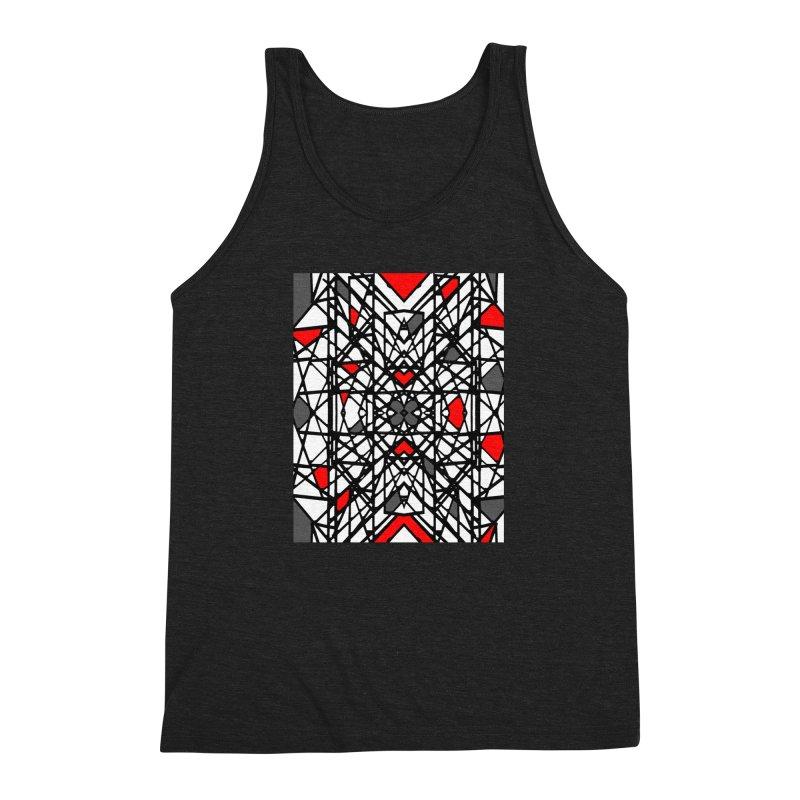 BLACK/RED GEO Men's Triblend Tank by designsbydana's Artist Shop