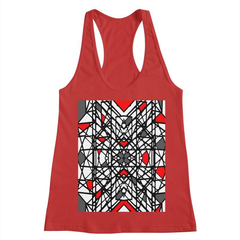 BLACK/RED GEO Women's Racerback Tank by designsbydana's Artist Shop