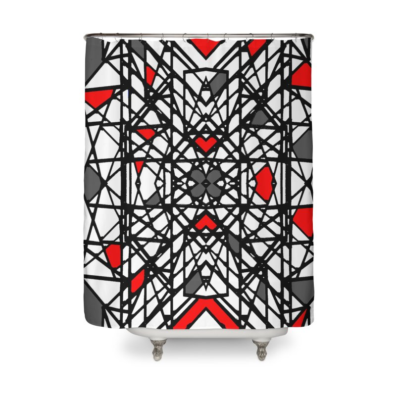 BLACK/RED GEO Home Shower Curtain by designsbydana's Artist Shop