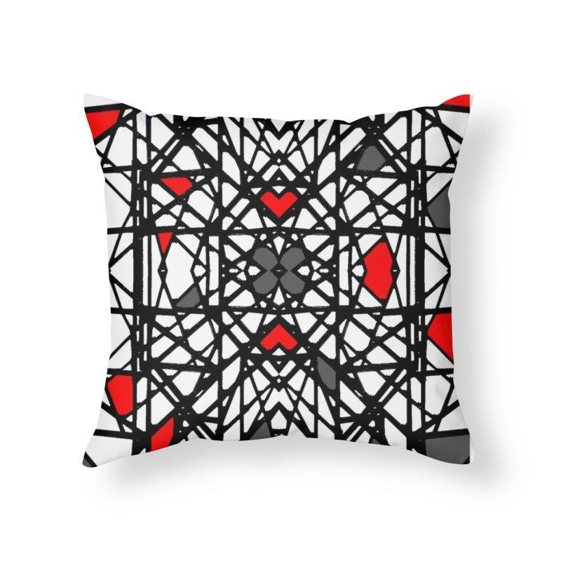 BLACK/RED GEO Home Throw Pillow by designsbydana's Artist Shop