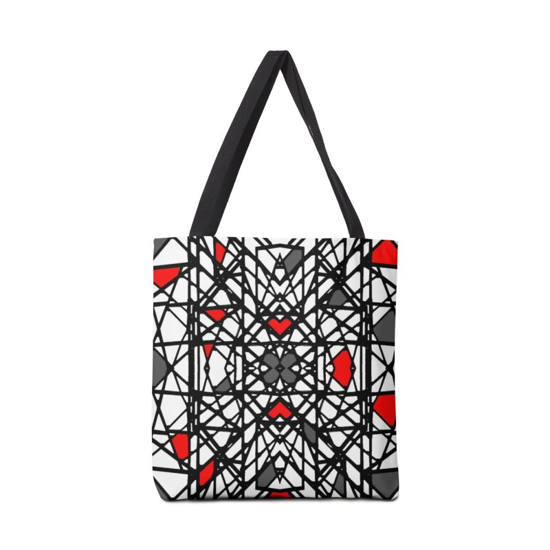 BLACK/RED GEO Accessories Tote Bag Bag by designsbydana's Artist Shop