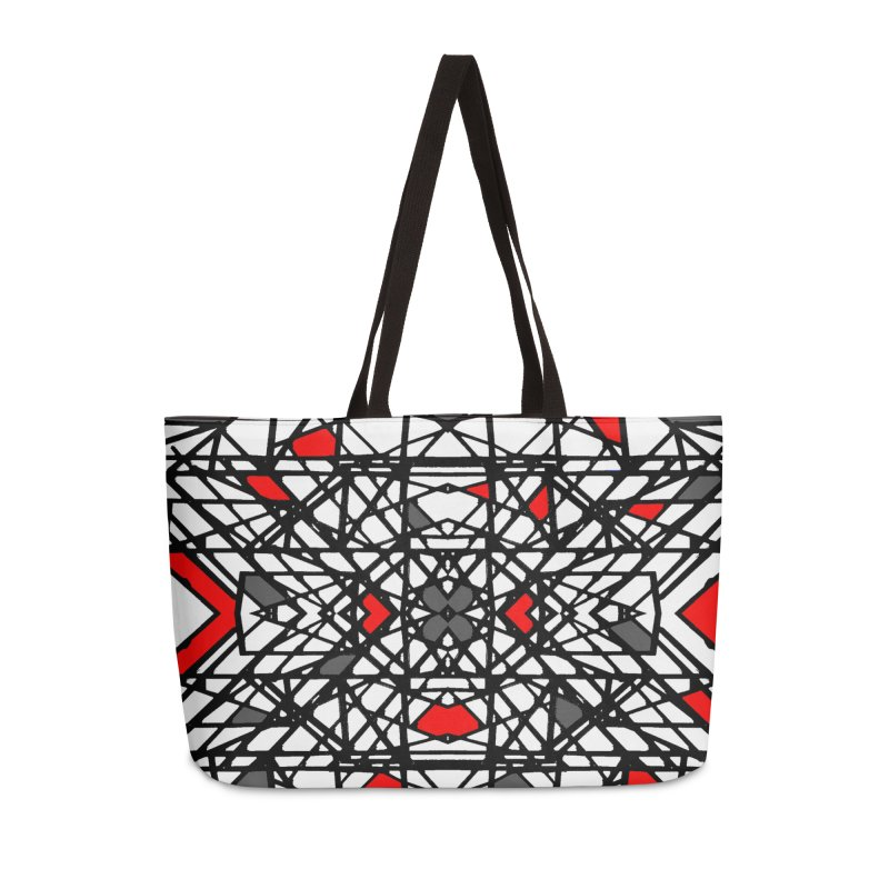 BLACK/RED GEO Accessories Weekender Bag Bag by designsbydana's Artist Shop
