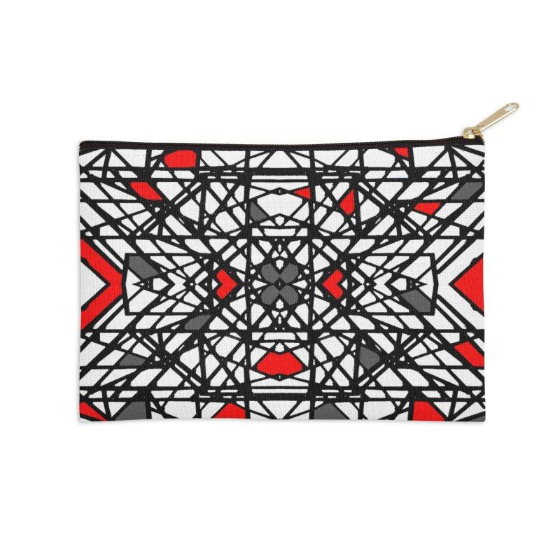 BLACK/RED GEO Accessories Zip Pouch by designsbydana's Artist Shop