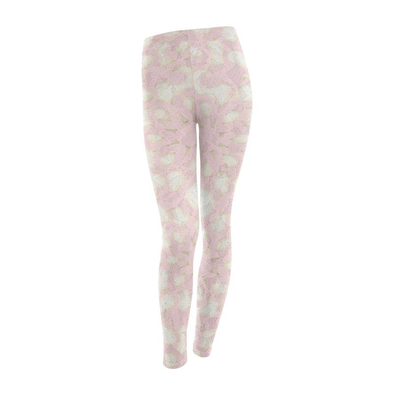 PINK LACE Women's Leggings Bottoms by designsbydana's Artist Shop
