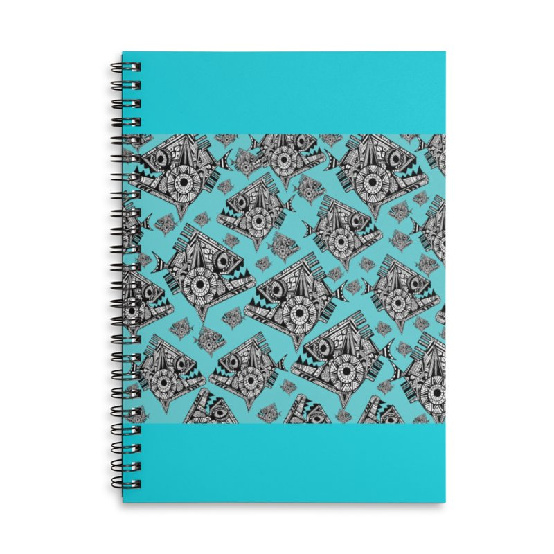 AQUA PIRANA Accessories Lined Spiral Notebook by designsbydana's Artist Shop