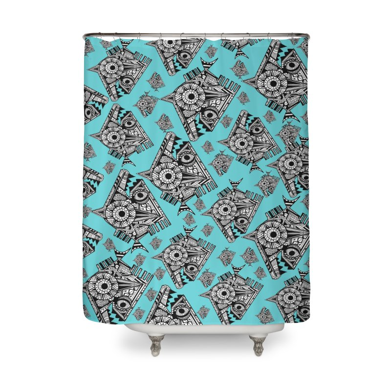AQUA PIRANA Home Shower Curtain by designsbydana's Artist Shop