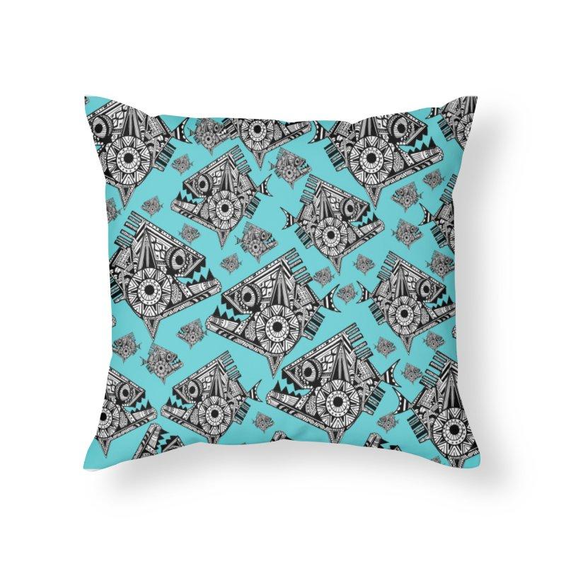 AQUA PIRANA Home Throw Pillow by designsbydana's Artist Shop