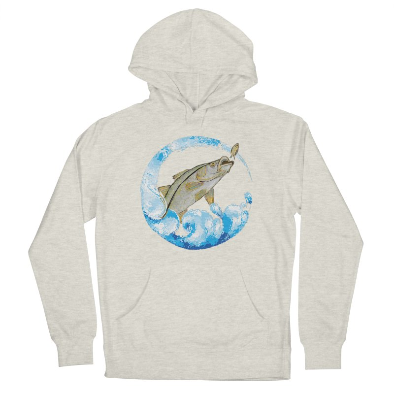 Leaping Snook Men's French Terry Pullover Hoody by designsbydana's Artist Shop