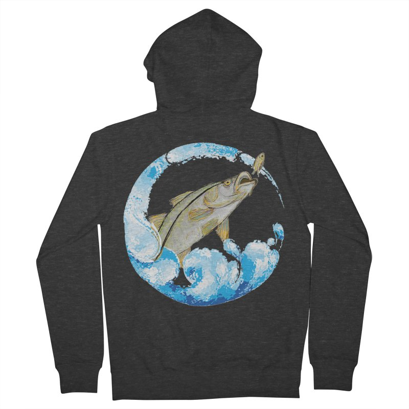 Leaping Snook Men's French Terry Zip-Up Hoody by designsbydana's Artist Shop