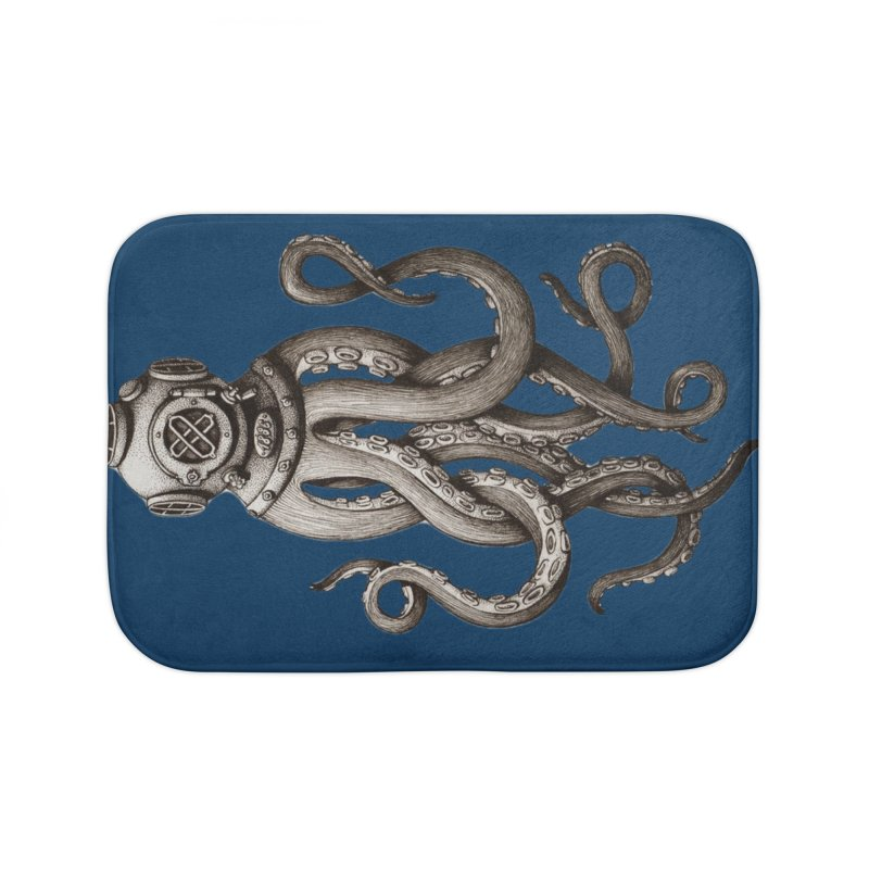 Retro SCUBA Diver Weird Octopus Home Bath Mat by designsonoma's Artist Shop