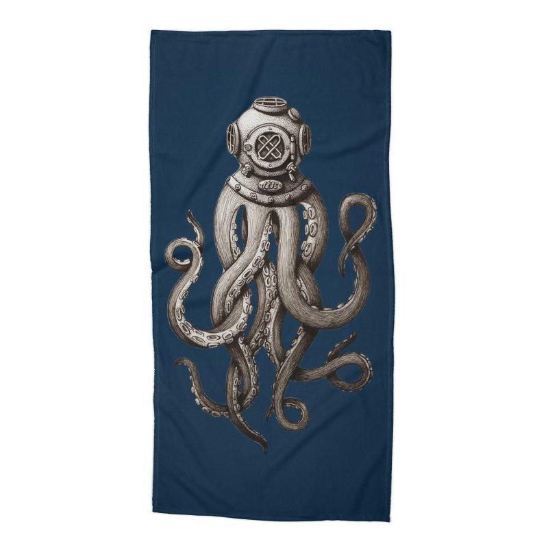 Retro SCUBA Diver Weird Octopus Accessories Beach Towel by Designsonoma's Artist Shop