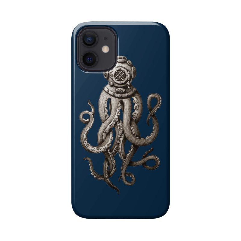 Retro SCUBA Diver Weird Octopus Accessories Phone Case by Designsonoma's Artist Shop