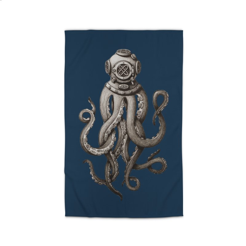 Retro SCUBA Diver Weird Octopus Home Rug by Designsonoma's Artist Shop
