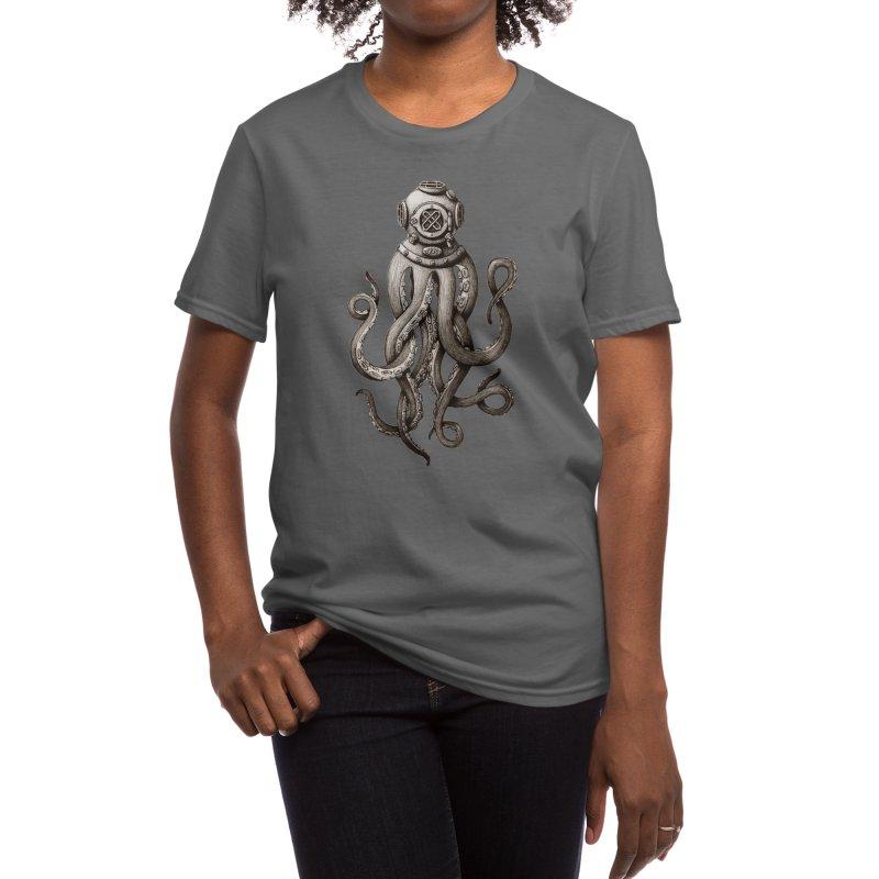 Retro SCUBA Diver Weird Octopus Women's T-Shirt by Designsonoma's Artist Shop