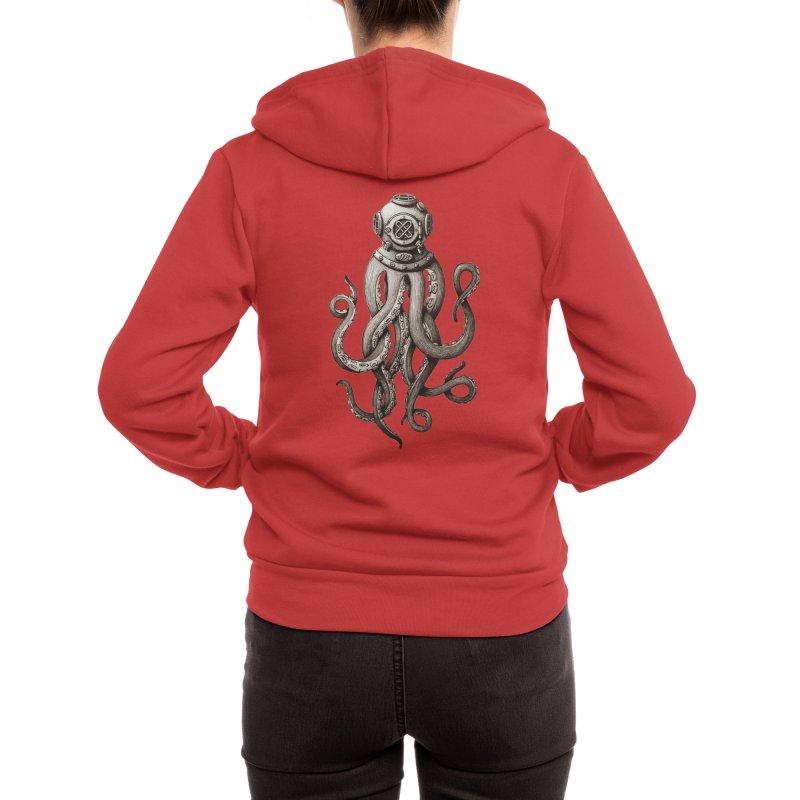Retro SCUBA Diver Weird Octopus Women's Zip-Up Hoody by Designsonoma's Artist Shop