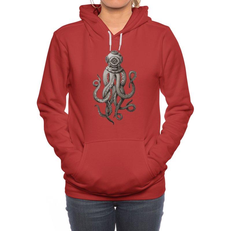 Retro SCUBA Diver Weird Octopus Women's Pullover Hoody by Designsonoma's Artist Shop