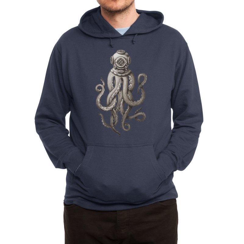 Retro SCUBA Diver Weird Octopus Men's Pullover Hoody by Designsonoma's Artist Shop