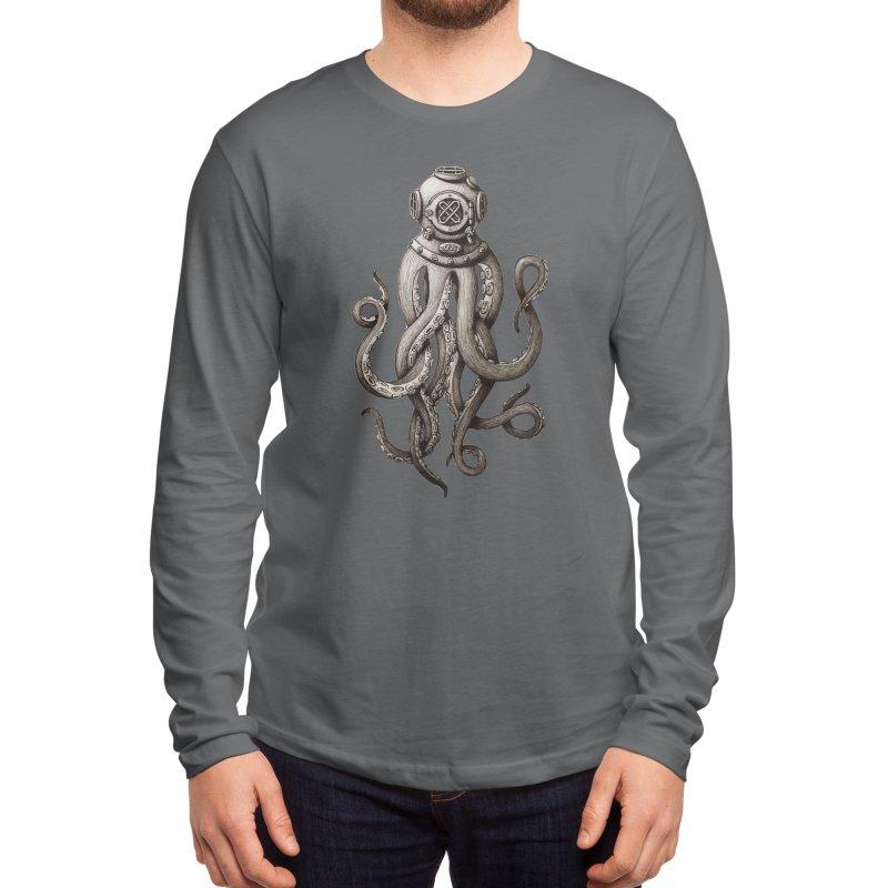 Retro SCUBA Diver Weird Octopus Men's Longsleeve T-Shirt by Designsonoma's Artist Shop